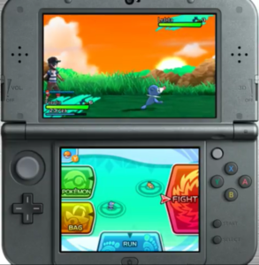 A screenshot featuring the new battle menu in Sun and Moon.