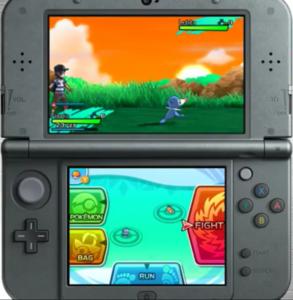 A screenshot featuring the new battle menu in Sun and Moon.