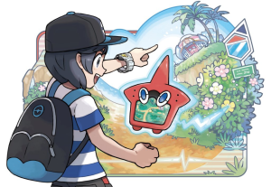 Artwork of a trainer using the QR scanner to track pokémon on his Rotomdex.